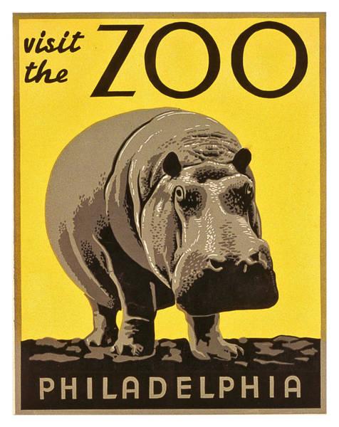 Hippopotamus Painting - Big Hippo, Visit The Zoo In Philadelphia, Travel Poster by Long Shot