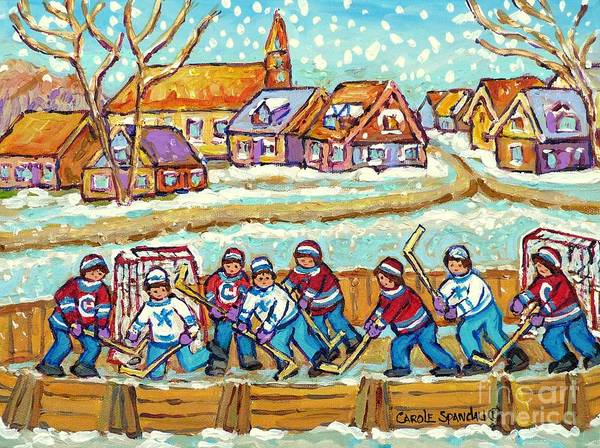 Painting - Big Hockey Game Outdoor Ice Rink Snowy Winter Scene Painting Canadian Art C Spandau Quebec Artist    by Carole Spandau