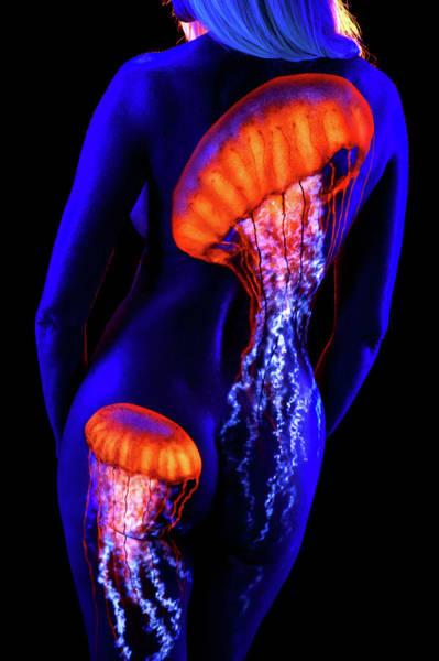 Blacklight Photograph - Big Jellyfish by John Poppleton