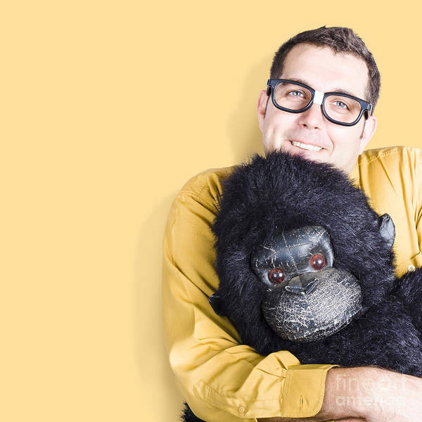 Comfort Photograph - Big Male Goof Cuddling Toy Gorilla. Comfort Zone by Jorgo Photography - Wall Art Gallery