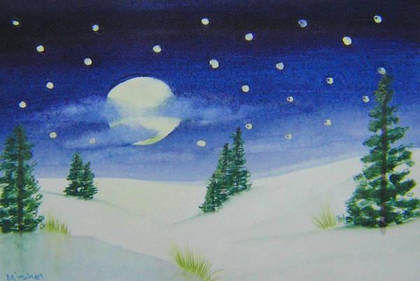 Big Moon Christmas Art Print