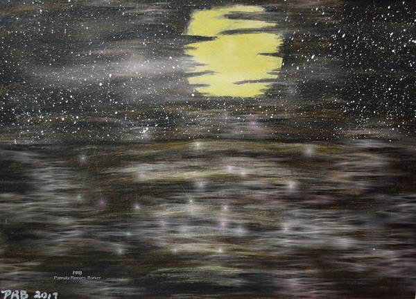 Prb Mixed Media - Big Moon Over Ocean by Pamula Reeves-Barker