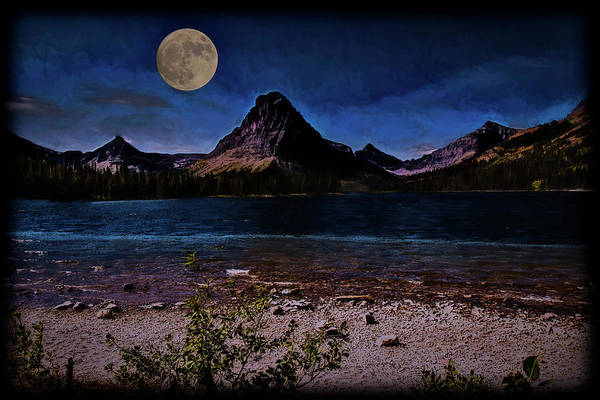 Digital Art - Big Moon Over Two Medicine Lake. by Rusty R Smith