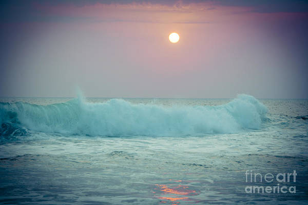 Photograph - Big Ocean Wave At Sunset With Sun Kerala India by Raimond Klavins