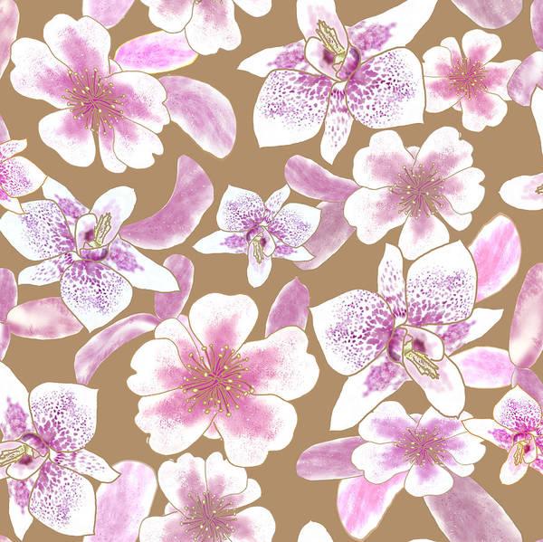 Digital Art - Big Orchids 3 Iced Coffee by Karen Dyson