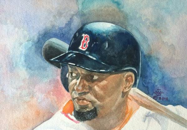Hitter Painting - Big Papi by Nigel Wynter