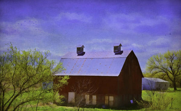 Photograph - Big Red Barn In Kansas Spring by Anna Louise