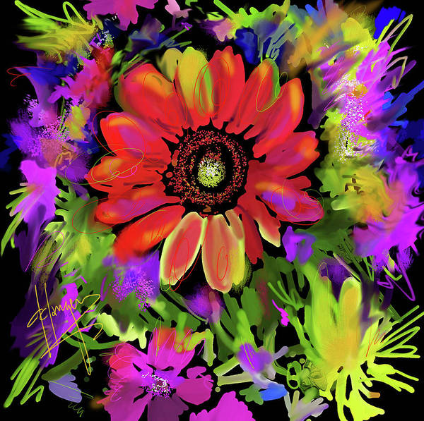 Painting - Big Red Flower by DC Langer