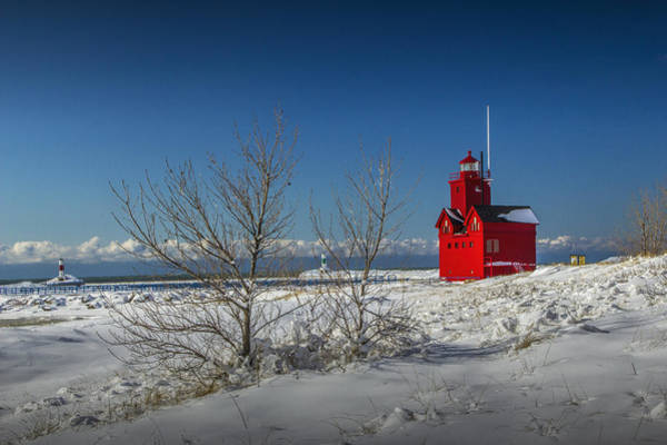 Holland State Park Photograph - Big Red Lighthouse In Winter by Randall Nyhof