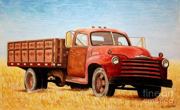 Old Red Truck Drawing - Big Red by Peter Paul Lividini