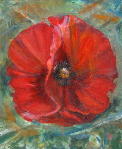 Wall Art - Mixed Media - Big Red Poppy by Denice Palanuk Wilson