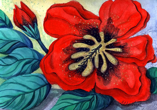 Hibiscus Flower Painting - Big Red by Sherry Holder Hunt