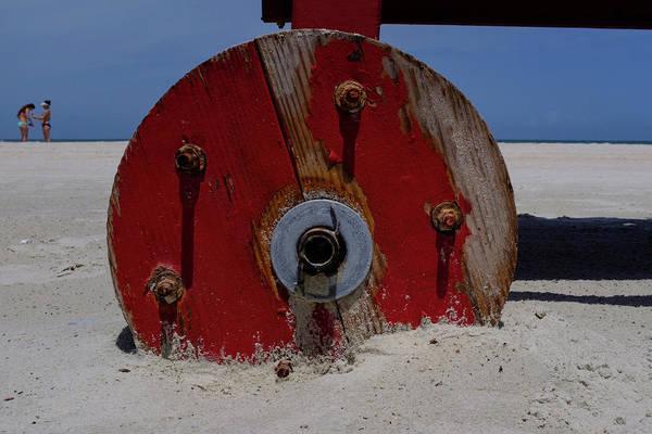 Big Red Wheel On The Beach In Daytona Florida Art Print