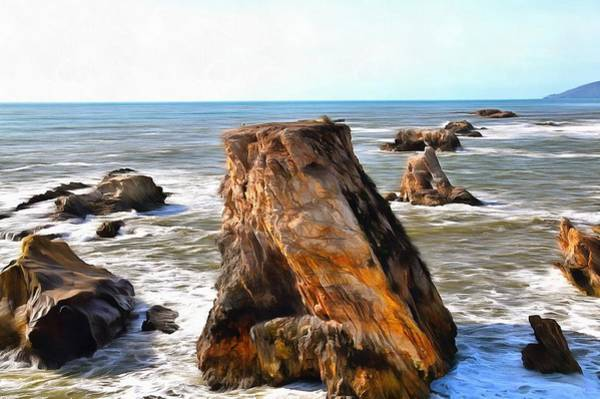 Wall Art - Photograph - Big Rocks In Grey Water Painting by Barbara Snyder