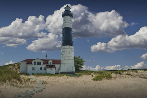 Photograph - Big Sable Lighthouse Under Cloudy Blue Skies by Randall Nyhof