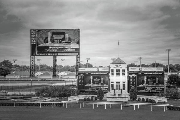 Wall Art - Digital Art - Big Screen At Churchill Downs Derby In Black And White by Art Spectrum