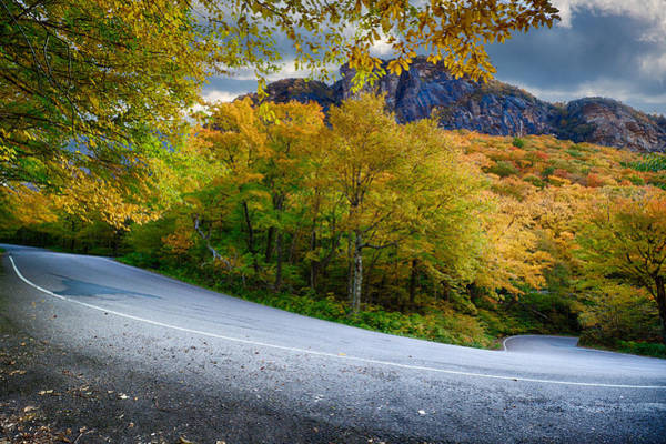 Smugglers Notch Photograph - Big Smugglers Notch Turn Under Vermont Fall Colors by Jeff Folger