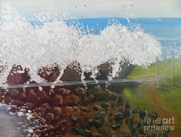 Wall Art - Painting - Big Splash Over The Seawall by Pamela Meredith