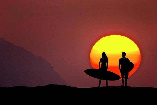 Kaena Photograph - Big Sun Surfers by Sean Davey