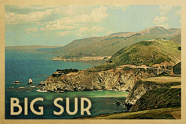 California Coast Digital Art - Big Sur Travel Poster - Vintage Travel by Flo Karp