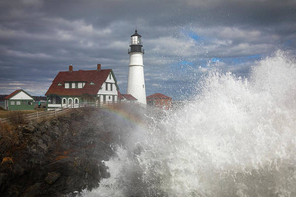 Photograph - Big Surf At Portland Head Light by Colin Chase