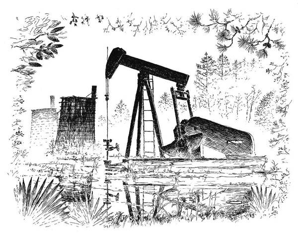 Drawing - Big Thicket Oilfield by Randy Welborn