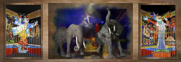 Wall Art - Photograph - Big Top Elephants Textured Triptych 3 Panel by Thomas Woolworth