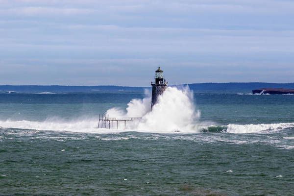 Photograph - Big Wave Hits Ram Island Ledge Light by Darryl Hendricks