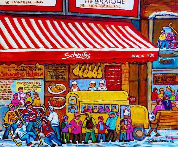 Painting - Big Yellow Schoolbus At Schwartz Deli Original Winter Scene Hockey Art Painting For Sale C Spandau   by Carole Spandau