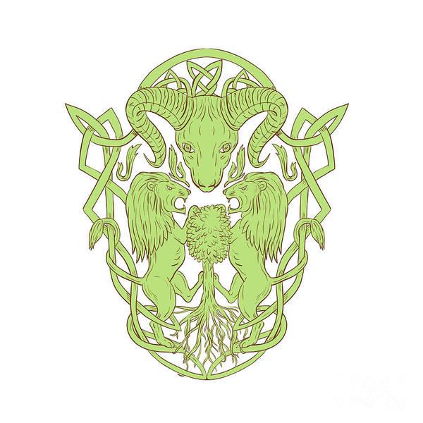 Unbroken Wall Art - Digital Art - Bighorn Sheep Lion Tree Coat Of Arms Celtic Knot by Aloysius Patrimonio
