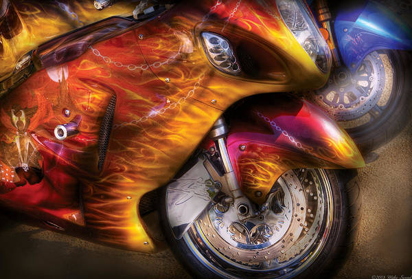 Photograph - Bike - Motorcycle - Flame On by Mike Savad