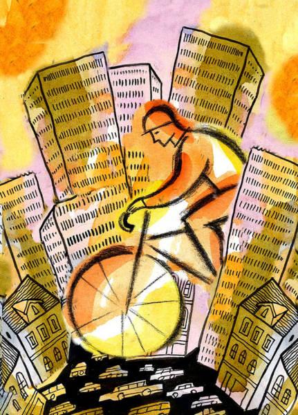 Dedication Painting - Bike And The City by Leon Zernitsky