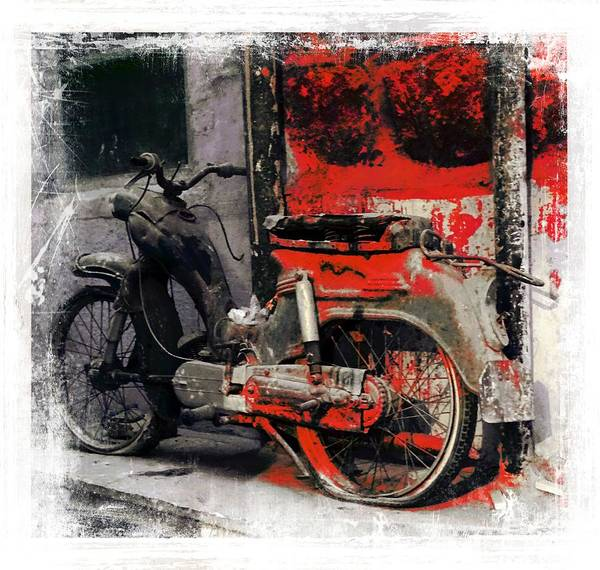Wall Art - Photograph - Bike Flat Tire Abandoned India Rajasthan Blue City 2a by Sue Jacobi