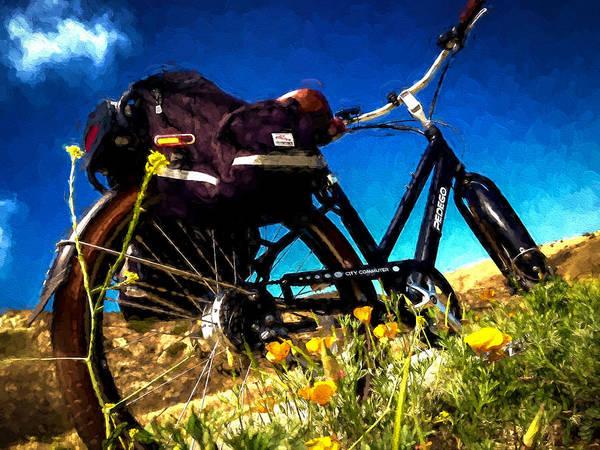 Wild Poppies Digital Art - Bike In Poppies by Vivian Frerichs