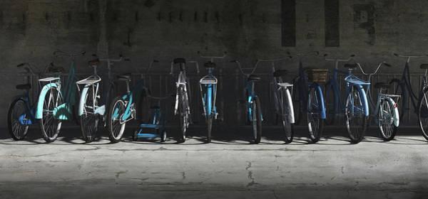 Wall Art - Digital Art - Bike Rack Blues by Cynthia Decker
