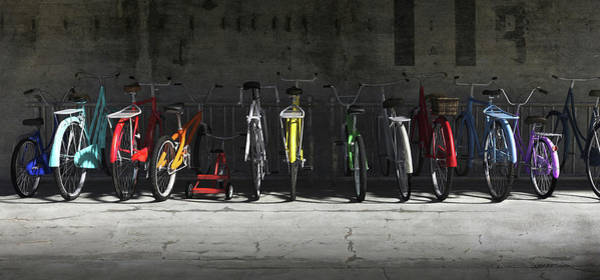 Ride Digital Art - Bike Rack by Cynthia Decker