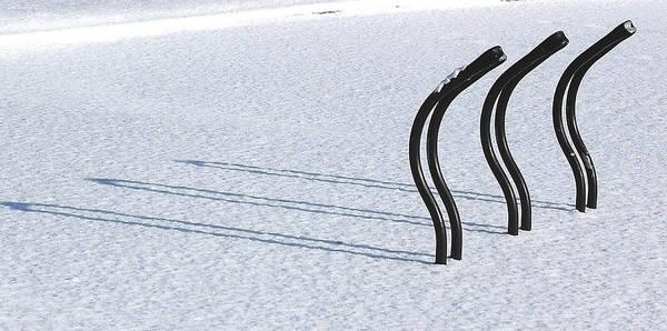 Bike Racks In Snow Art Print
