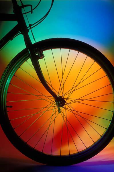 Spokes Photograph - Bike Silhouette by Garry Gay