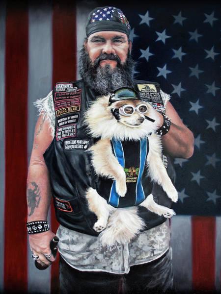 Clovis Painting - Biker And Dog by Clovis Rusk