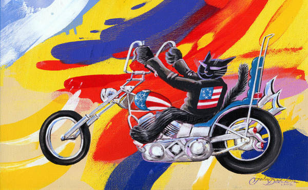Harley Davidson Painting - Biker Cat by John Deecken