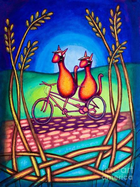 Drawing - Biker Kats by Laurie Tietjen