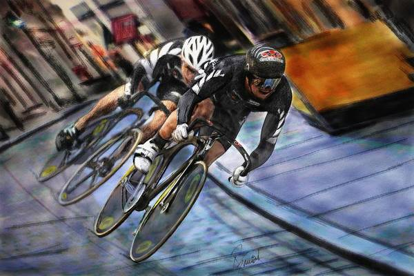Cycling Helmet Painting - Bikers by Robert Smith