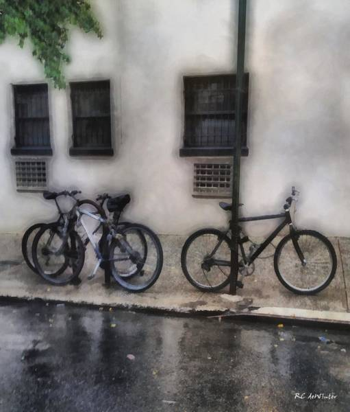 Painting - Bikes In The Rain by RC DeWinter