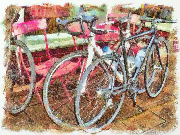 Digital Art - Bikes by Leigh Kemp