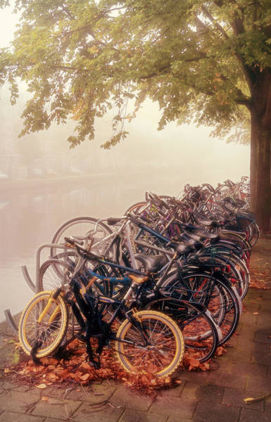 Photograph - Bikes On A Foggy Morning by Joan Carroll