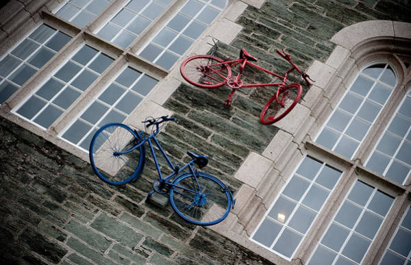 Photograph - Bikes On The Wall by Helen Northcott