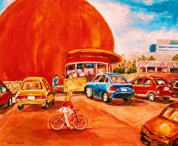 Painting - Biking Past The Orange Julep by Carole Spandau
