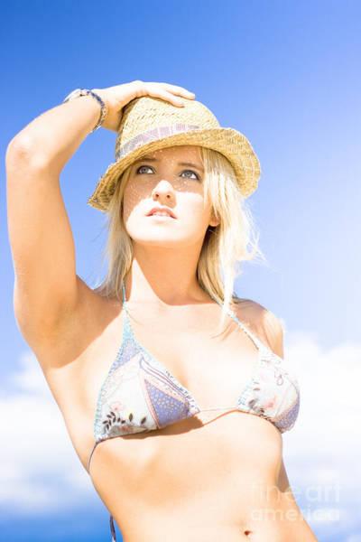 Respite Photograph - Bikini Lady Against Blue Sky Background by Jorgo Photography - Wall Art Gallery