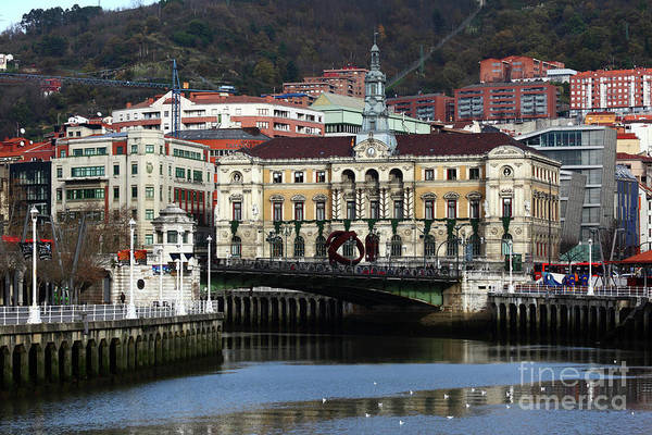 Photograph - Bilbao City Hall And Ria De Bilbao by James Brunker