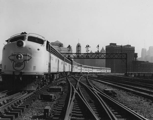 Chicago And North Western Photograph - Bilevel 400 Leaving Chicago Passenger Terminal - 1958 by Chicago and North Western Historical Society